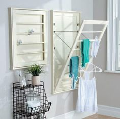 Laundry Room Space Saving Wall Mount Clothes Clothing Drying Rack Hanger 3 Sizes #HomeImprovements