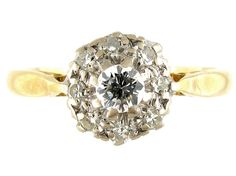 18ct  Platinum Diamond Cluster Ring from the Antique Jewellery Company, £675