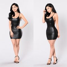 2017 summer Low cut round neck backless vestidos Sex Sleeveless Party Black leather above knee mini bodycon strap dress