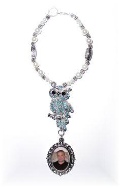 Wedding Bouquet Memorial Photo Metal Charm Something Blue Owl Crystals Gems Pearls Silver Tibetan Beads - FREE SHIPPING. $24.00, via Etsy.