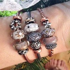 Stack your trollbeads! #trollbeadsakron #stackedbracelets #naturekit #copperbangles