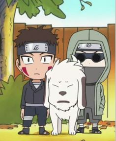 Naruto SD: Kiba, Akamaru and Shino.