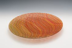 Large Tapestry Shallow Bowl in Autumn Colors by Richard Parrish (Art Glass Bowl) Slumped Glass, Fused Glass, Large Tapestries, Tapestry, Kiln Formed Glass, Plates And Bowls, Glass Art, Shallow, Artist