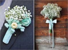 I would have never thought of baby's breath for the bouquet and boutonniere but this is fabulous and super inexpensive.