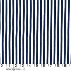 $5.25 half yd  Clown Stripe Fabric Michael Miller Nite Navy Blue and White 5 stripes per inch