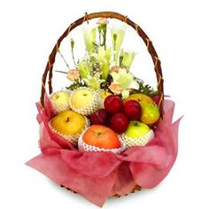 Fruit With Flowers in a beautiful basket  A lovely basket especially made for your dear ones. Apples, plums adorned in a net casing with white liliums in a round basket arrangement. Send this fabulous basket to your dear ones in India with other Gifts to India with the help of Giftblooms.com.