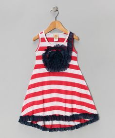 Take a look at this Red & Navy Stripe Rosette Dress - Toddler & Girls by Mia Belle Baby on #zulily today!
