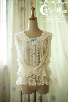 【白月Lolita洋装】~玫瑰信约~雪纺娃娃款不收腰中袖衬衣尾款-淘宝网