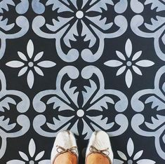 Fes Floor Stencil for floors, walls, furniture and fabric. Moroccan stencil. Repeating pattern.DIY project Stencil Fabric, Stencil Painting, Stencils, Painting Walls, Painted Floorboards, Painted Floors, Stenciled Floor, Floor Stencil, Tropical Tile