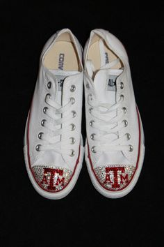 Custom Sports Texas A & M bling converse adult by glamourtoes… Aggie Baseball, Texas A M Football, Bedazzled Converse, Converse Heels, Cute Shoes, Me Too Shoes, Texas Shirts, Bling Shoes, University Of Texas