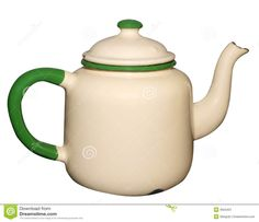 Old tea pots | Old Enamel Teapot isolated with clipping path.