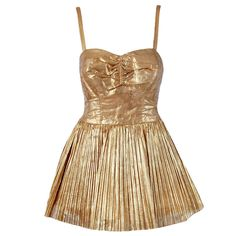 1950's Alix of Miami Metallic-Gold Pleated Lame Bombshell Swimsuit & Jacket | From a collection of rare vintage swimwear at http://www.1stdibs.com/fashion/clothing/swimwear/
