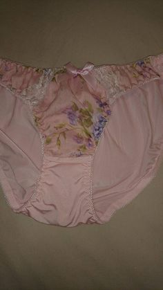 A NWOT Vintage pair of Nylon Bikini Panties from Japan, in size 10/Aus/UK and 5/US, in a very silky nylon with lace and coloured decorative panel on the front. All Cotton Gusset and all nylon back. Colour Pink + Colours