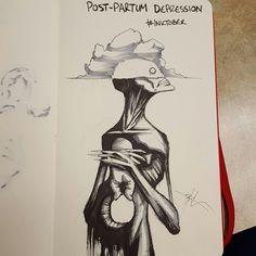 Justificado con el cambio hormonal provocado después de parir, la depresión posparto provoca una sensación de profunda tristeza nada más dar a luz a un bebé.  Para Coss, es una nube en la cabeza que no te deja ver la preciosidad que tienes entre tus brazos.