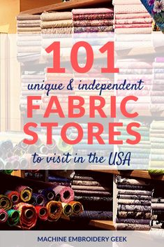There are so many interesting independent fabric stores around the country to visit that carry unique textiles that you may not find anywhere else. Cheap Embroidery Machine, Embroidery Supplies, Sewing Art, Sewing Crafts, Sewing Patterns, Sewing Projects, Fabric Decor, Fabric Crafts, Architecture Design