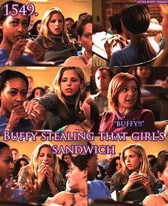 Buffy Stealing that Girl's Sandwich