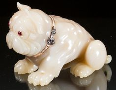 """RUSSIAN FABERGÉ ATTRIBUTED HARDSTONE CARVING OF A BULLDOG, very detailed, eyes set with rubies in gold frames, gold collar marked """"56"""" for 14K fineness and """"K (slashed) 0"""", the collar buckle set with rose-cut diamonds. In a lined and fitted beech wood presentation box with Cyrillic markings for Fabergé."""