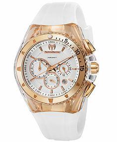 TechnoMarine Watch, Chronograph Cruise Original Star 40mm White and Brown Silicone Straps 110047