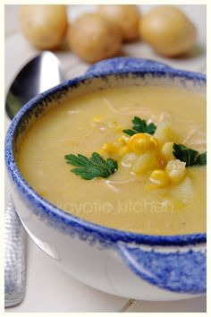 "Potato, Chicken, & Corn Soup - Very ""fresh"" non-creamy comfort soup. However, don't double the recipe. You'll make enough soup to feed an army of Sumo wrestlers."