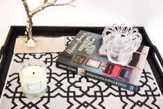 DIY Chalk Paint and Stencil Table Tray Project by the Palette Blog (Annie Sloan Unfolded) - Tangier Lattice Stencil by Royal Design Studio