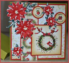 Card made by Wenda Overweg. Wildrose Studio clearstamp 'Christmas wreath'. Xmas flowers are made with MFD046 'Poinsettia' and SD021. Circle clearstamps CCSK002.