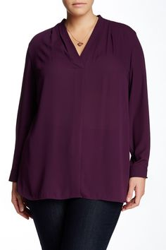 Pleated V-Neck Woven Blouse (Plus Size) by Vince Camuto on @nordstrom_rack