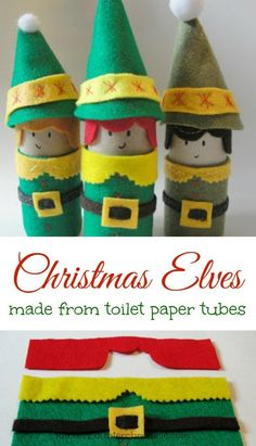 Christmas elf craft made from toilet paper rolls. How cute are these smiling Christmas elves? Follow the simple step by step tutorial to transform a few scraps of felt and toilet paper rolls into holiday fun!   Christmas Craft   Christmas Elf Craft   Green Christmas   Toilet Paper Craft   Craft for Kids  