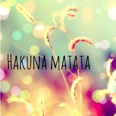 Hakuna Matata it means no worries for the rest of your days...or my days:)