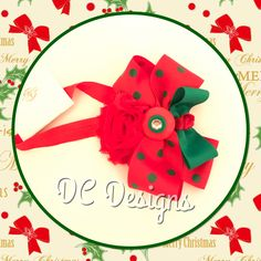 Red and green baby's Holiday headband
