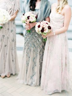 Victorian glam bridesmaid dresses: http://www.stylemepretty.com/little-black-book-blog/2014/12/09/glamorous-victorian-inspired-st-louis-wedding/ | Photography: Clary Pfeiffer - http://www.claryphoto.com/