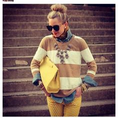 Preppy chic. love the combo of all the pieces.