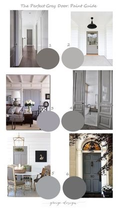 Grey Door Paint Guide We did a post last year on our favorite grey doors and are still receiving questions about where to find the perfect shade of grey paint. We have pulled togethe - Door Interior Door Colors, Grey Interior Doors, Painted Interior Doors, Painted Doors, Interior Design Living Room, Interior Trim, Paint Colors For Home, House Colors, Paint Colours
