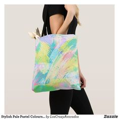 Stylish Pale Pastel Colours Abstract Art Tote Bag Pastel Colours, Edge Design, Abstract Art, Reusable Tote Bags, Stylish, Prints, Pastel Colors, Soft Pastels