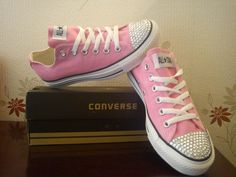 96e55a4a777d Bespoke crystal encrusted trainers high hi tops bling sparkle crystal  converse