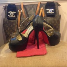 Red bottoms Black and Red 6 inch red bottom heels. Fit true to size 9-9.5. Never worn. Lower thru M or pal Shoes Heels