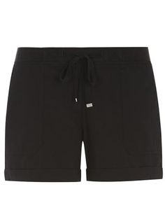 Black Cotton Poplin Shorts