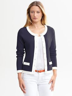 Banana Republic - Tipped Sweater Jacket (Navy)