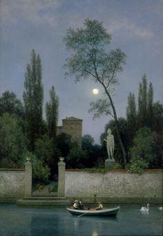 Georg Emil Libert (Danish, 1820 - 1908) - Italian Villa in Moonlight, 1868