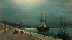 Το λιμάνι του Βόλου.Πινακοθήκη Ε.Αβέρωφ Moonlight Painting, Sailing Ships, 19th Century, Greece, Vintage, Paintings, Artists, Google, Photos