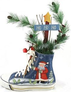Creative Christmas Centerpieces - Canvas Shoe Centerpiece