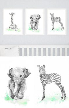 Neutral Nursery Decor, Set of 3 prints, Baby Animals Nursery, Watercolor Painting Safari Wall Art Watercolour Print New baby Gift Green Gray Set of 3 prints- high quality fine art prints of my original watercolor painting. It is the work of a watercolor series Portraits of the Heart Size paper: 14,8 × 21cm,5 4/5 × 8 1/4, A5 (with white borders) - 18.00 $ 21 cm x 29,7 cm, 8 1/4 x 11.5/8, A4.(with white borders) - 36.00 $ 29,7cm × 42cm, 11,69 × 16,54, A3(with white borders) - 72.00 $ O...