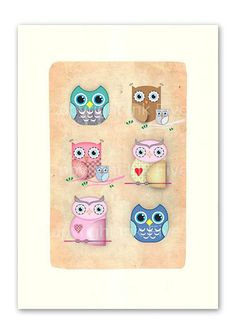 Owls nursery art print. Kids room wall art. Whimsical cute character for wall decor. Birds images for children. Fits 8x10 frame opening. $16.00, via Etsy.