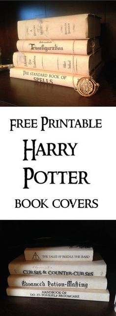 Harry Potter Book Covers Free Printables. Print these for your Harry Potter Hogawrts themed party for easy decor. Fun and cheap Harry Potter decorations.