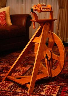 Morning St Spinning Wheel in Cherry  Ships in by OverlandHandcraft, $345.00    Birthday present?