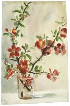 Untitled (Vase of Flowers) Georgia O'Keeffe – was born in Wisconsin but studied art in Chicago and New York Art Floral, Georgia Okeefe, Flower Vases, Flower Art, Art Flowers, Watercolor Flowers, Watercolor Paintings, Flower Paintings, Watercolors
