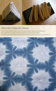 This is called Sekka shibori which is one of Itajime Shibori dye techniques. It's created by pleating, folding, clamping and dyeing the fabric. The fabric has to be folded and pressed neatly to create nice and precise patterns. (Little m Blue) Fabric Dyeing Techniques, Tie Dye Techniques, Shibori Fabric, Shibori Tie Dye, How To Tie Dye, How To Dye Fabric, Textile Dyeing, Tie Dye Crafts, Japanese Textiles