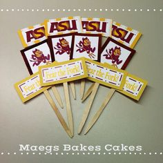 ASU Sun Devils cupcake toppers by MaegsBakesCakes on Etsy, $4.00