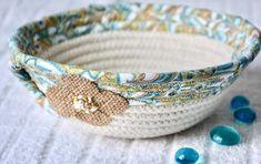 Turquoise Key Basket Handmade Fabric Bowl Blue Ring Dish   Etsy