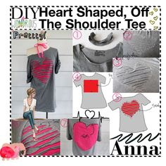 DIY; Heart Shaped, Off The Shoulder Tee by tiplandiagirls on Polyvore