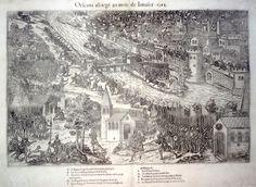 """""""Orléans assiégé au mois de Janvier 1563"""" - gravure sur cuivre - 1ère version sur 4 (RD XI 25a)"""